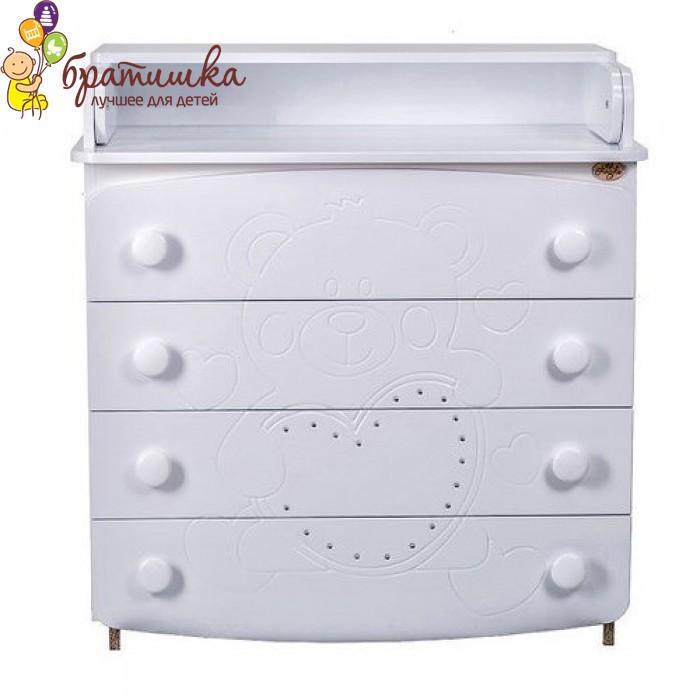 Комод-пеленатор Angelo МДФ, цвет белый мишка со стразами