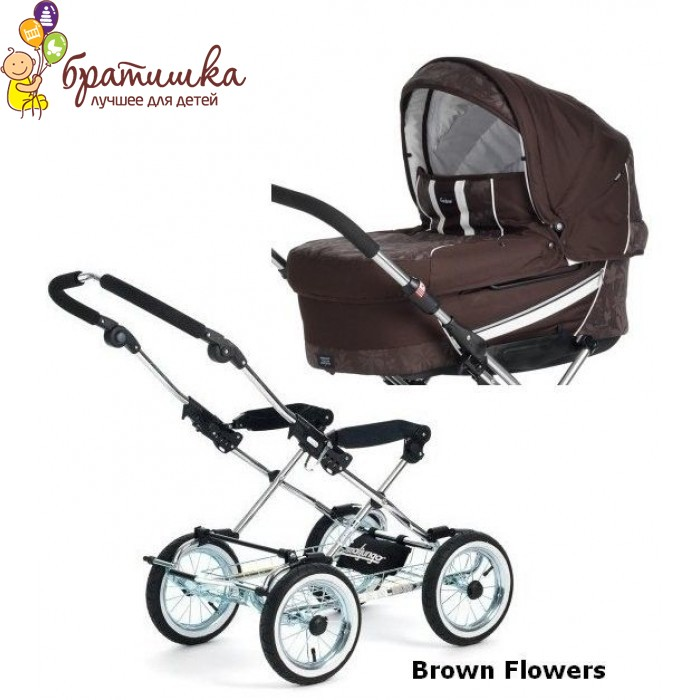 Emmaljunga Edge Duo Combi Classic Chrome, цвет Brown Flowers